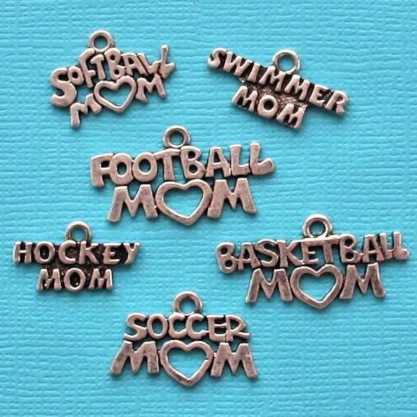 Sports Mom Charm Collection Antique Silver Tone 6 Different Charms - COL175