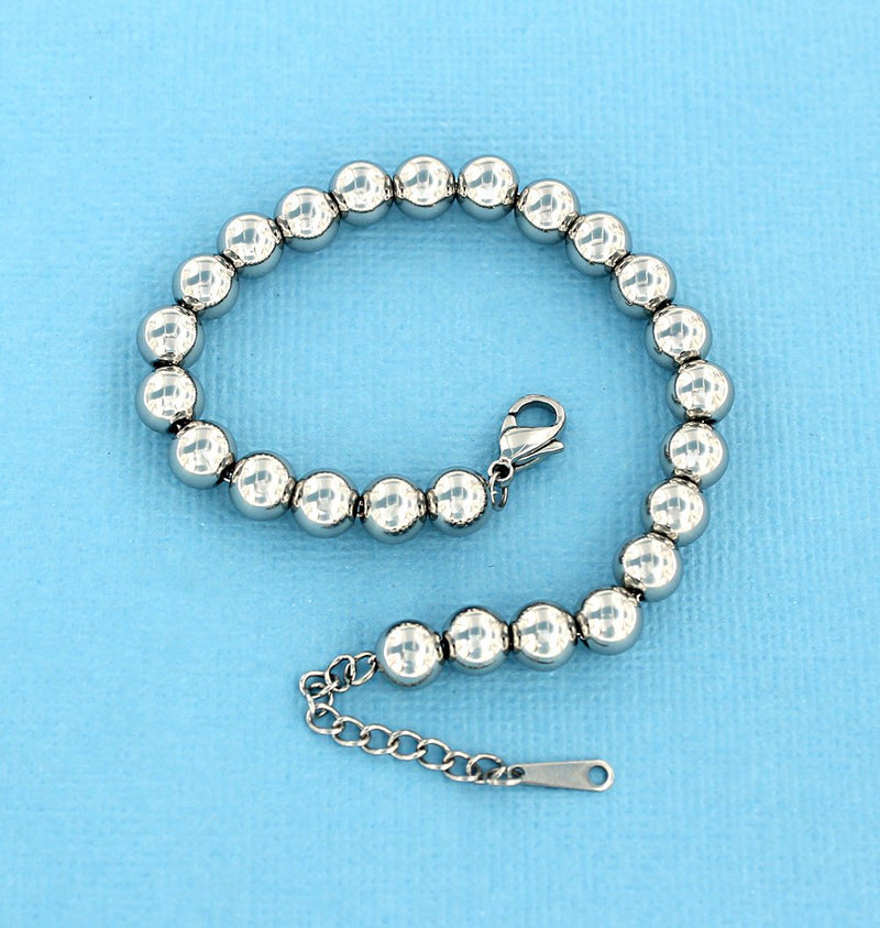 "Stainless Steel Cable Chain Bracelet With Spacer Beads 7 1/8"" Plus Extender Chain - 1.5mm - 1 Bracelet - N348"