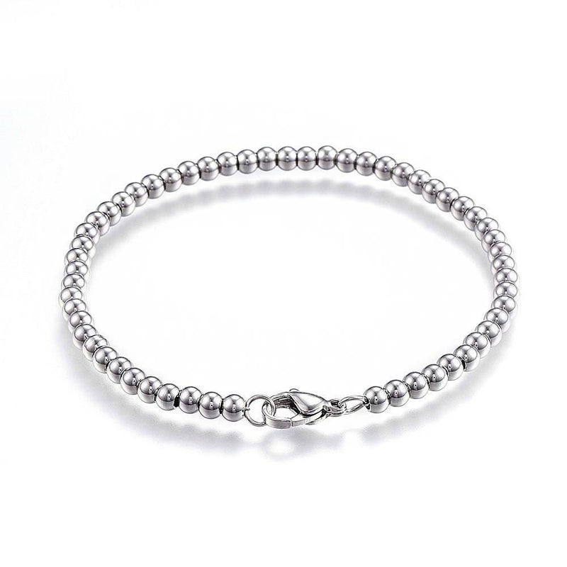 "Stainless Steel Ball Chain Bracelet 8"" - 4mm - 1 Bracelet - N428"