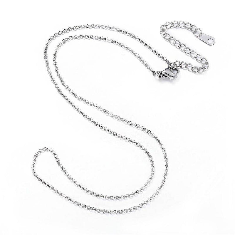"Stainless Steel Cable Chain Necklace 18"" Plus Extender - 2mm - 1 Necklace - N411"