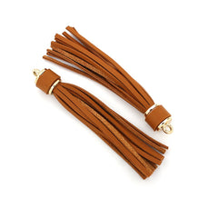 Imitation Leather Tassels - Saddle Brown and Gold Tone - 1 Piece - Z970