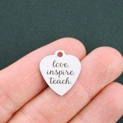 Teacher Stainless Steel Charm - Love Inspire Teach - Exclusive Line - Quantity Options - BFS1097