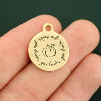 Thanksgiving Gold Stainless Steel Charm - Give Thanks - Exclusive Line - Quantity Options - BFS2693GOLD