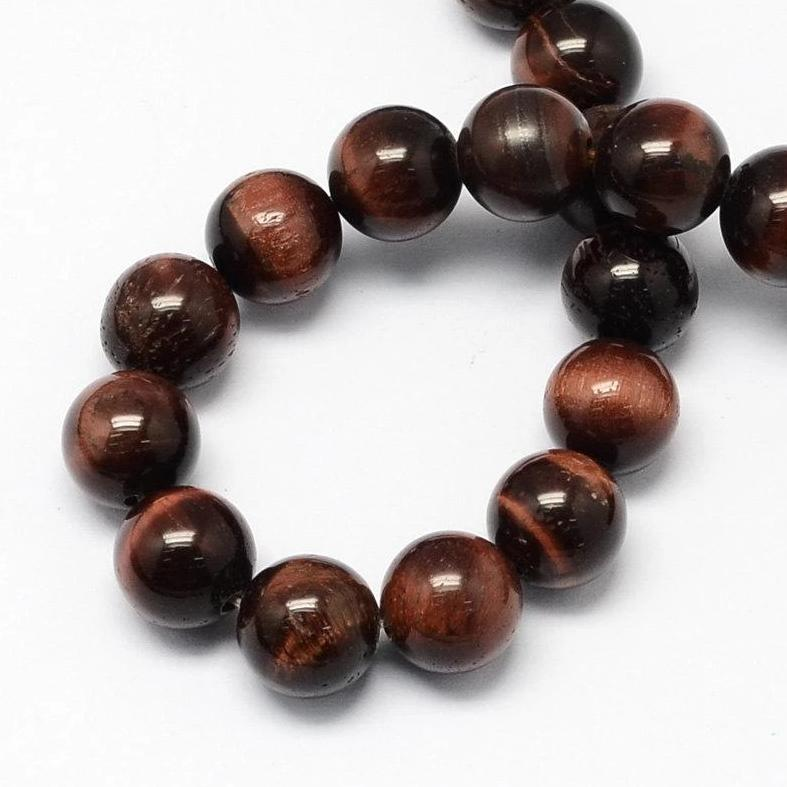 Round Tiger Eye Beads 8mm - Rich Dark Coffee - 1 Strand 50 Beads - BD583