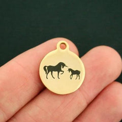 Unicorn Gold Stainless Steel Charm - Mama and One Baby - Exclusive Line - Quantity Options - BFS2798GOLD
