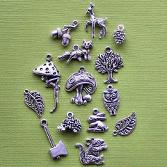 Woodland Charm Collection Antique Silver Tone 14 Charms - COL140