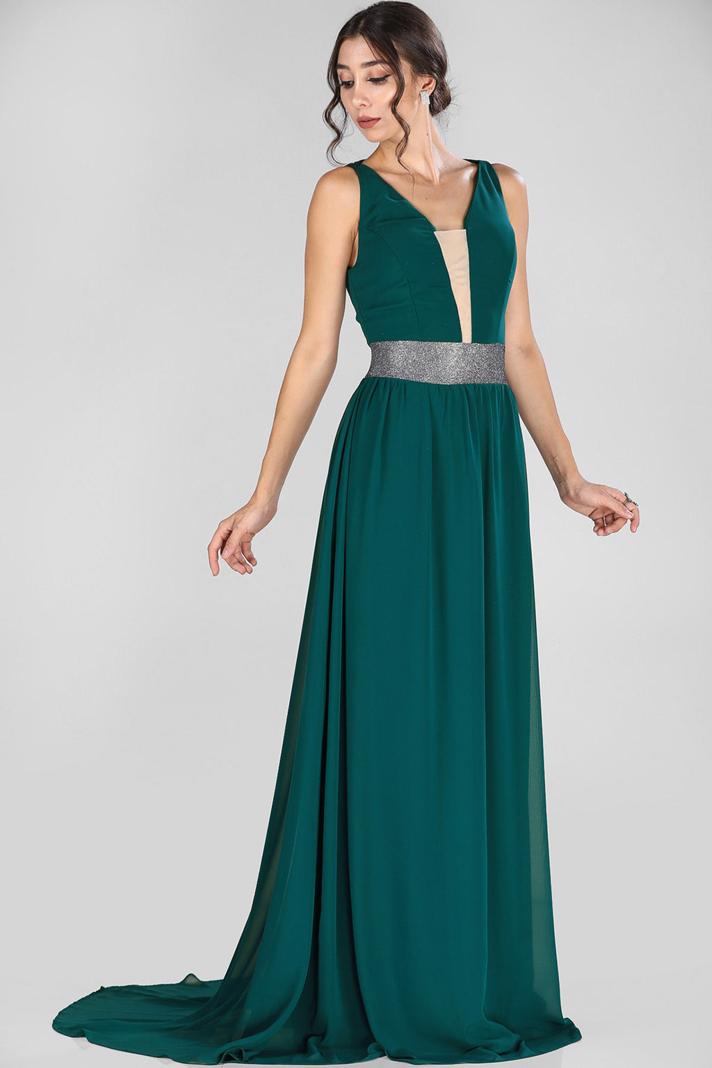 Tulle Detail Dark Green Evening Dress
