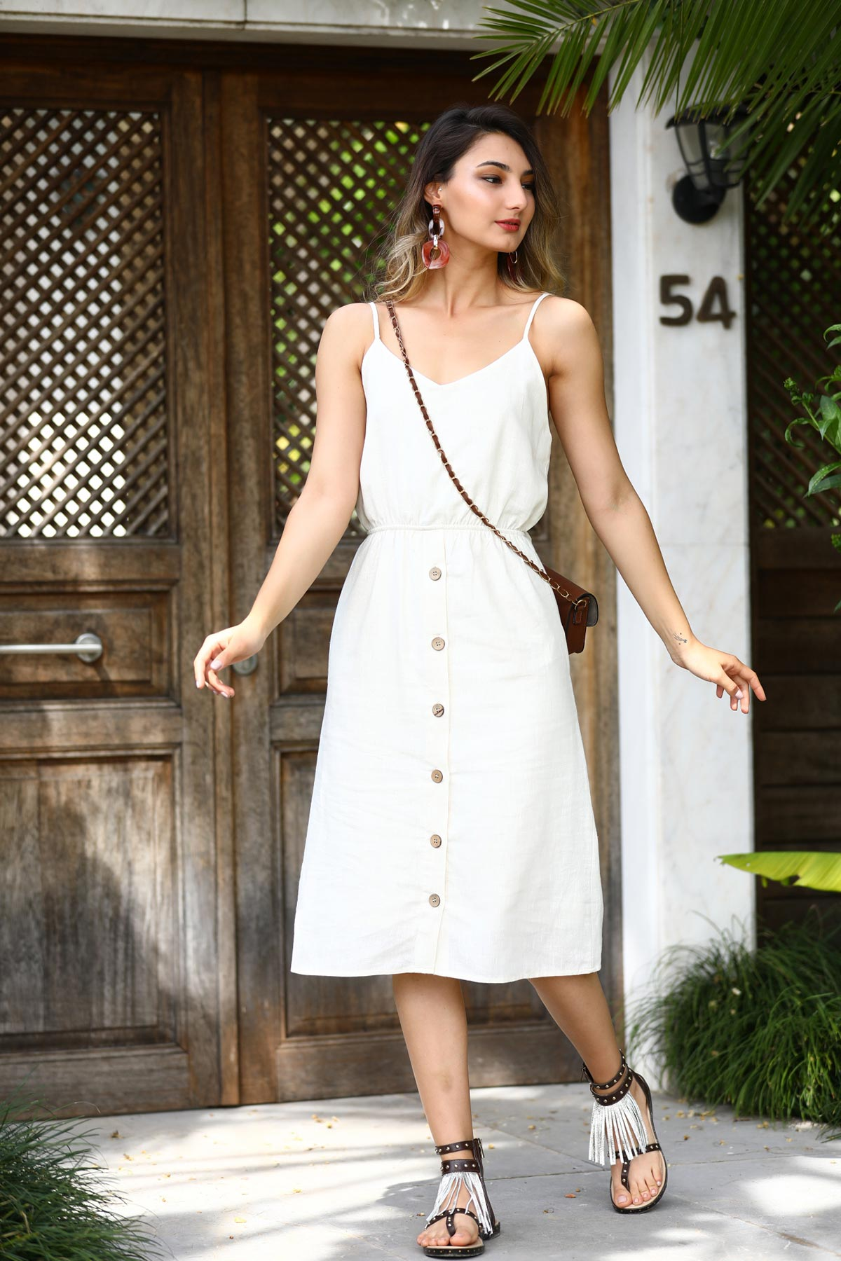 Women's Buttoned Ecru Linen Dress