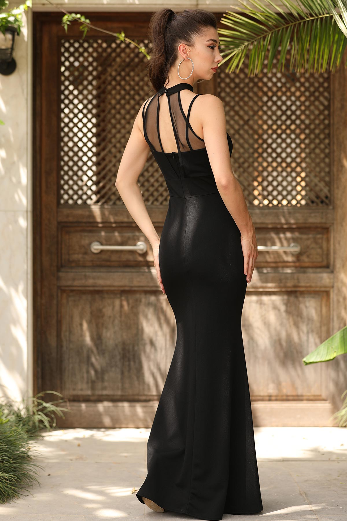 Tulle Detailed Black Evening Dress