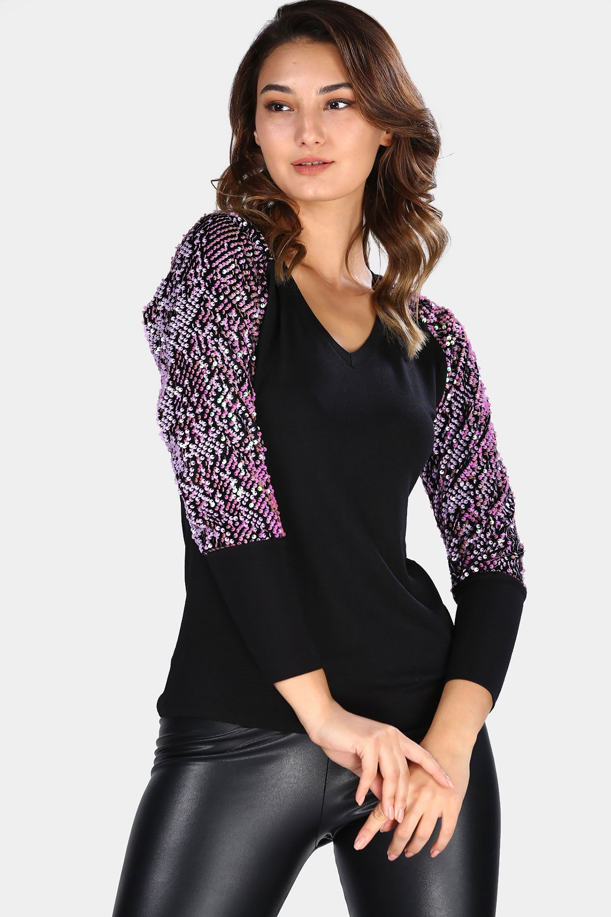 Women's Sequin Sleeves Black Blouse
