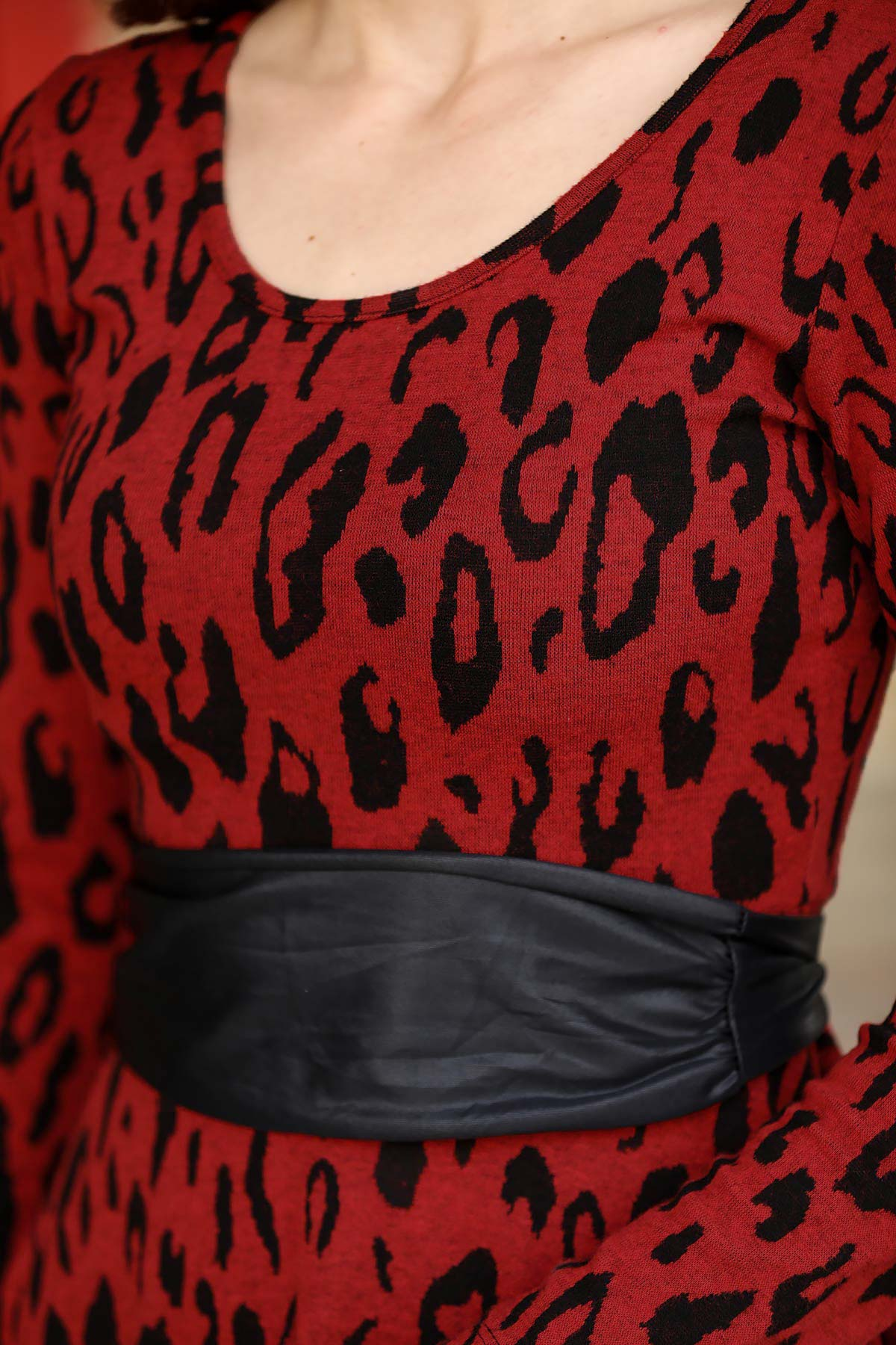 Women's Belted Leopard Pattern Red Short Dress