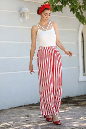 Women's Oversize Striped Red Pants
