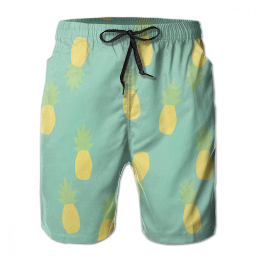 Pineapple Pastel Graphic Printed Athletic Long Shorts Men's Beach Shorts