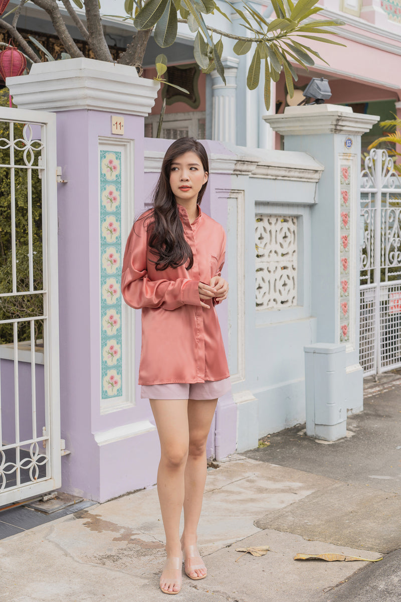 Ivanka Satin Oversized Shirt in Peach Sorbet