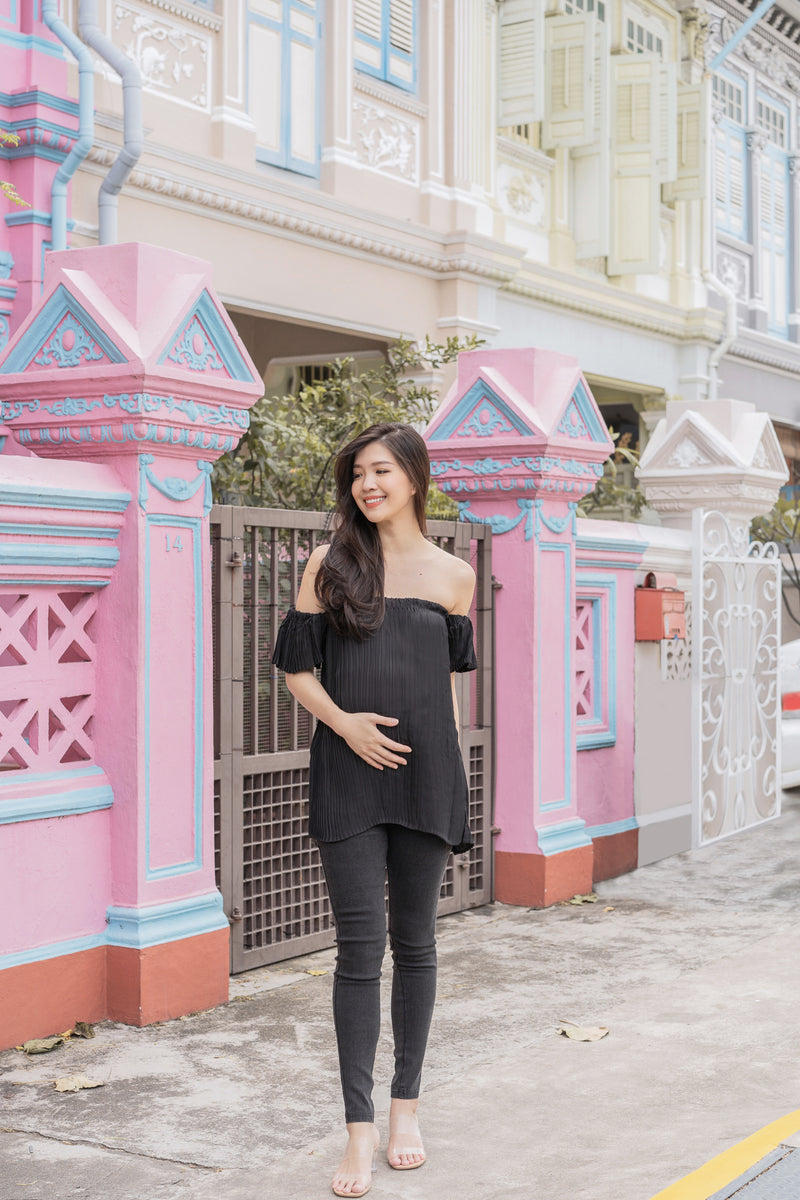 Arissa Pleated Maternity Top in Black