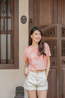 Tasha Tie-dye Cropped Top in Apricot