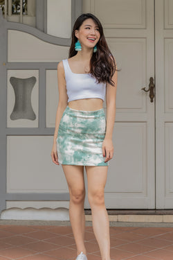 Hayley Tie-dye Skirt in Mint