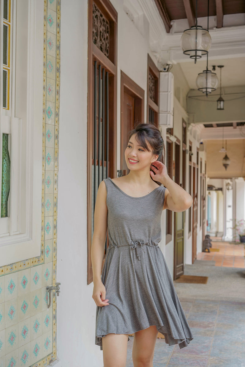Melaney Drawstring Dress in Dark Grey