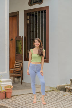 Avalynn Basic Ribbed Top in Avocado