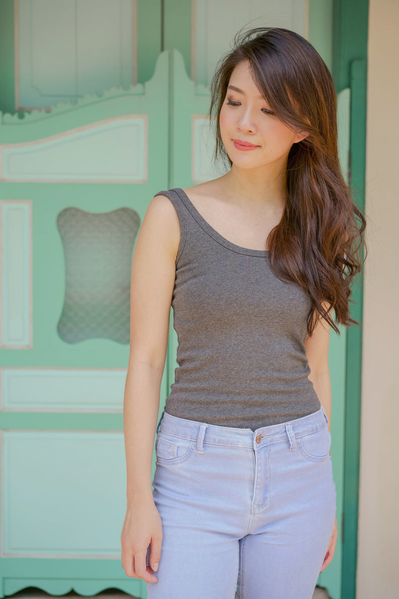 Vynn Ribbed Tank in Slate