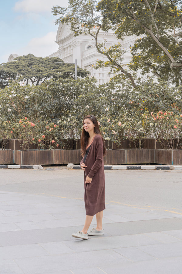 Pilar Longline Cardigan in Dark Chocolate