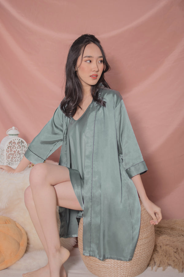 Bella Satin Slip Dress + Robe Set in Turqoise Green
