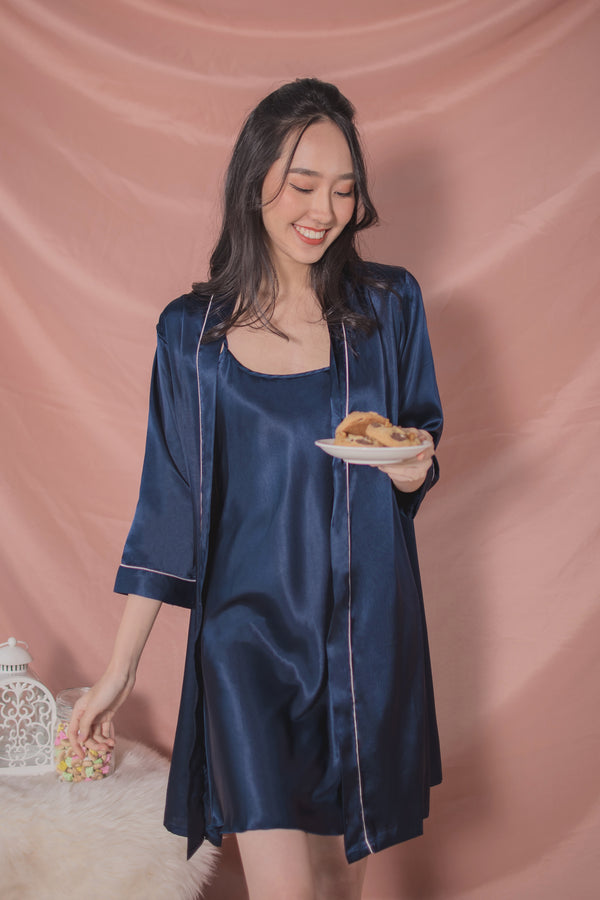 Avery Satin Slip Dress + Robe Set in Sapphire
