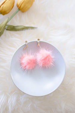 Elisha Pompom Earrings in Sakura