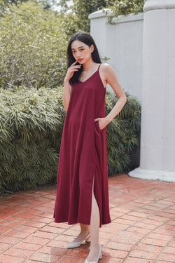 Signature Maxi Dress in Wine Red