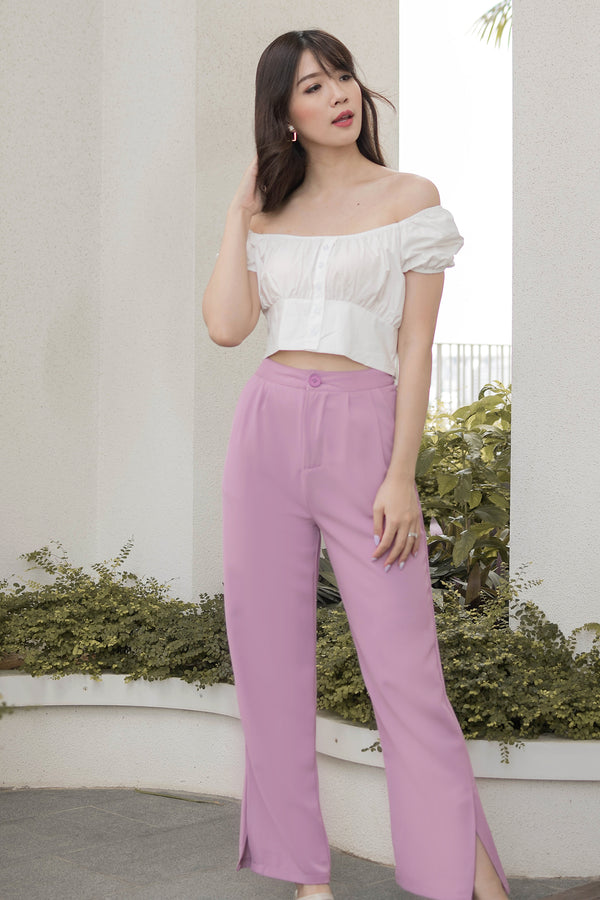 Paige Wide-Legged Trousers in Peony