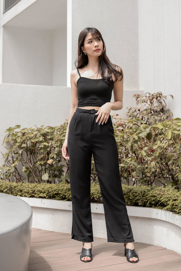 Paige Wide-Legged Trousers in Black