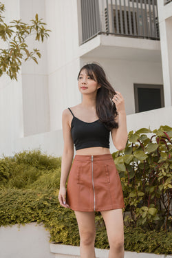 Midas Padded Crop Top in Noir