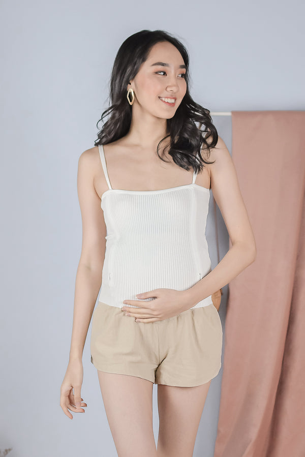 Bryna Linen Maternity Shorts in Beige