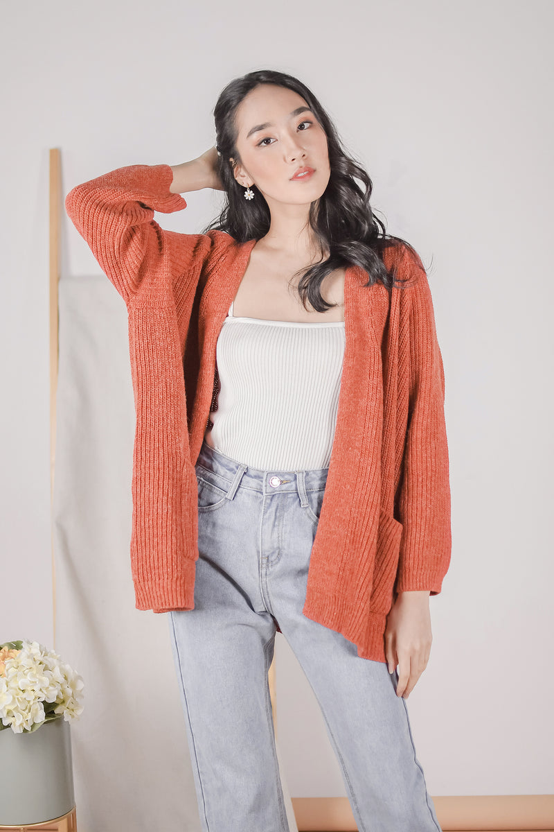 Parker Long Knit Cardigan in Rust