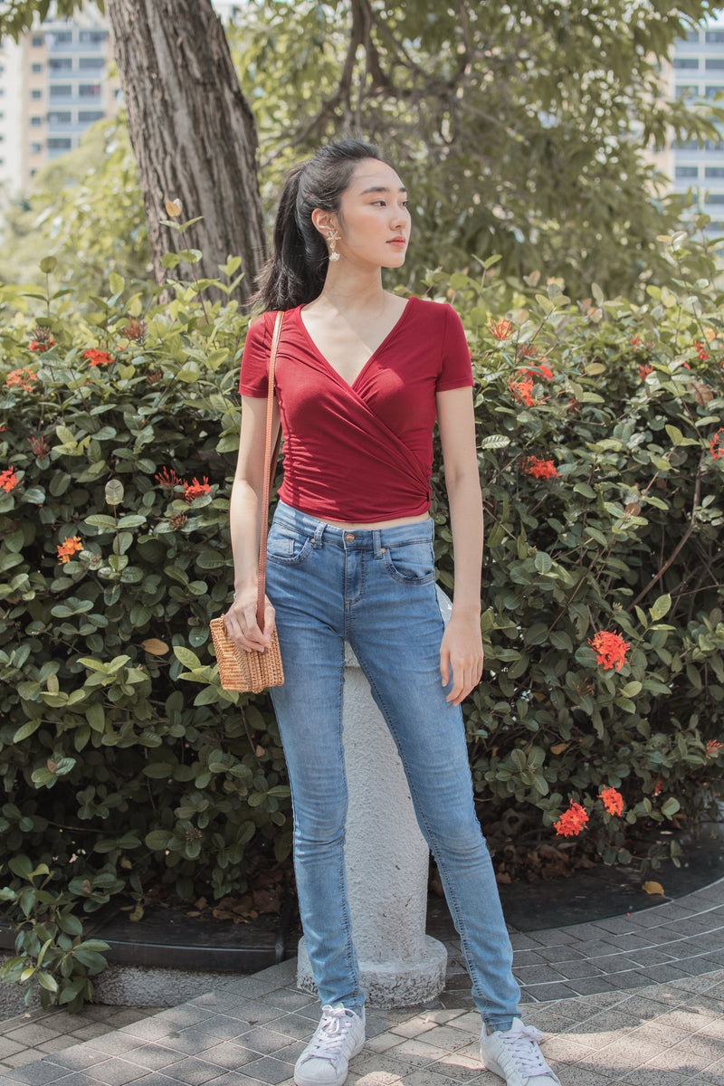 Adriana Overlay Top in Red