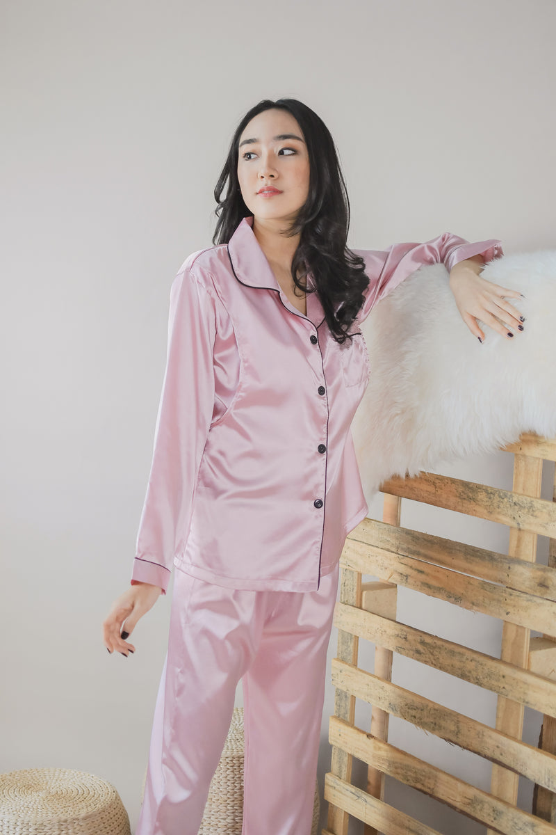 Fiora Satin Pajamas Set in Sakura