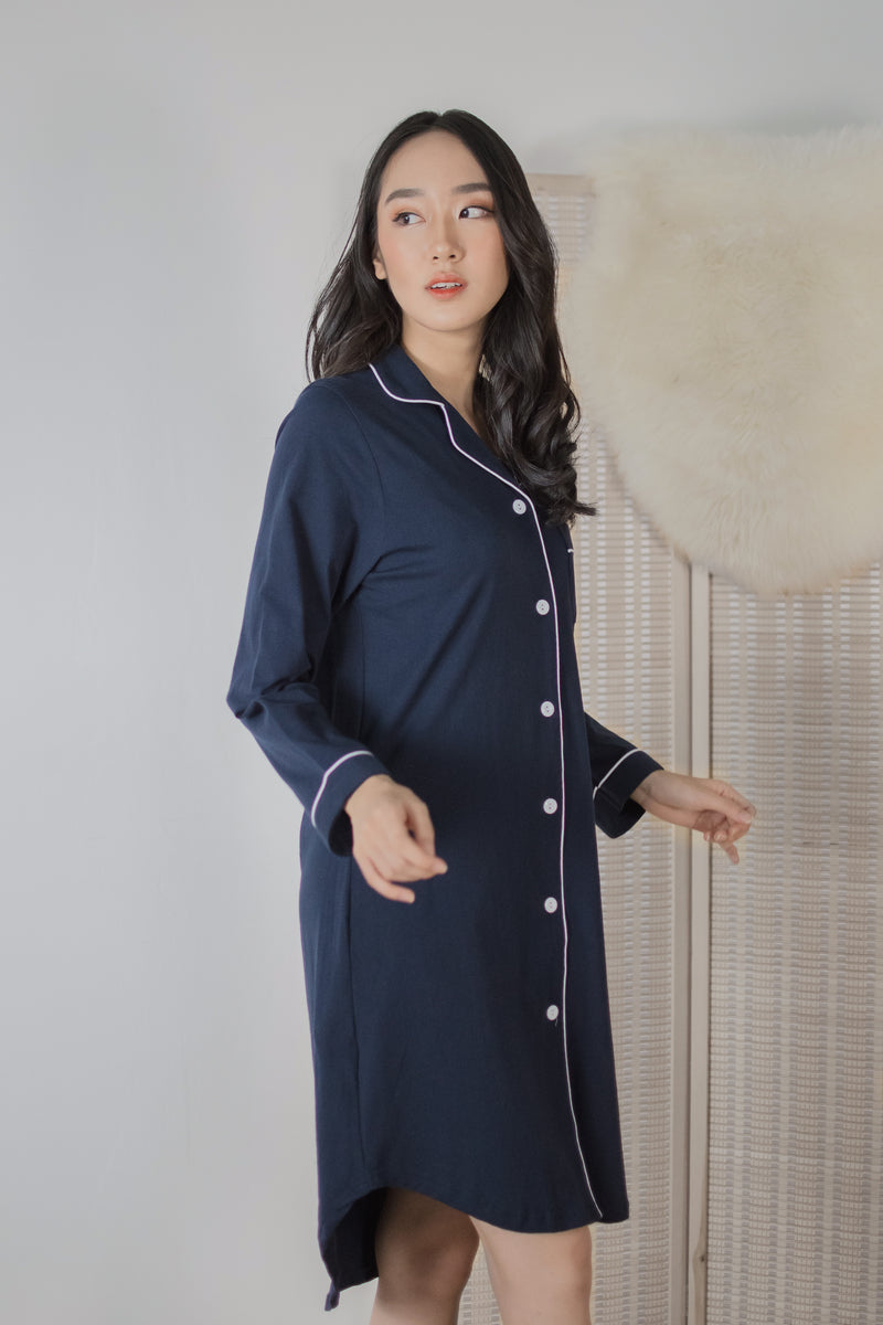 Athena Cotton Pajamas Dress in Navy