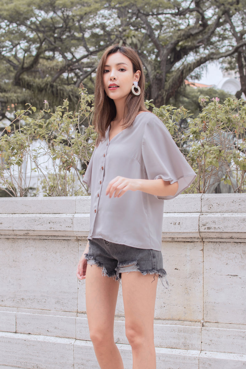 Yvette Blouse in Moonstone Grey