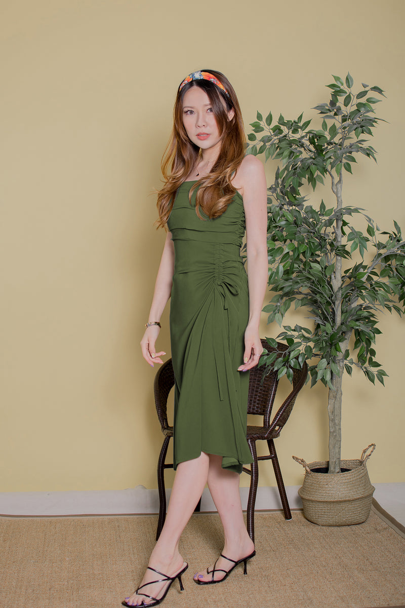 Deanna Ruched Midi in Green