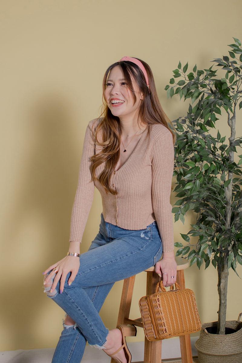 Sora Knit Cardigan in Walnut