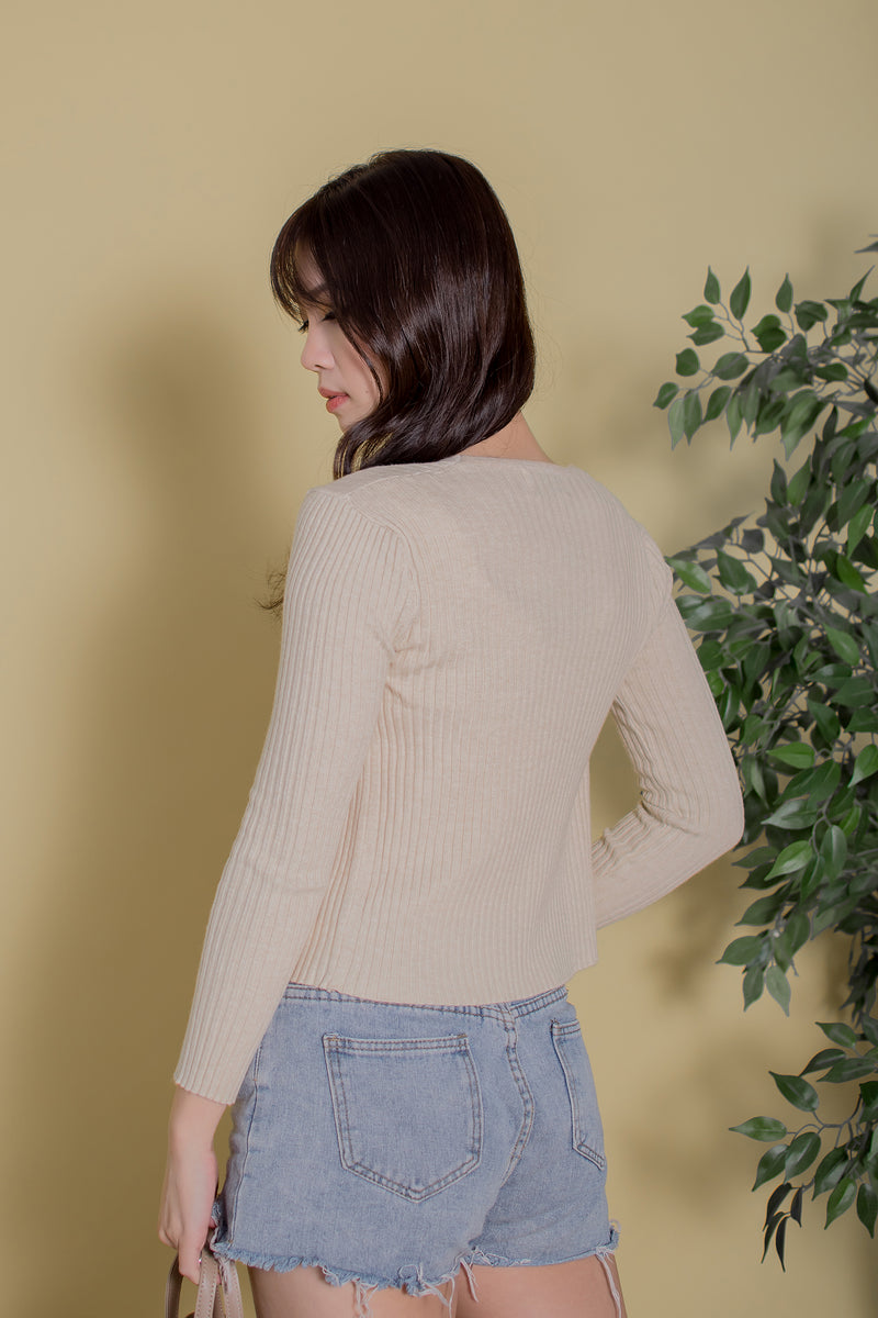 Sora Knit Cardigan in Almond
