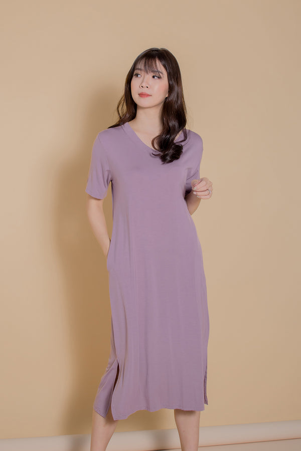 Lorraine Tshirt Dress in Pale Lilac