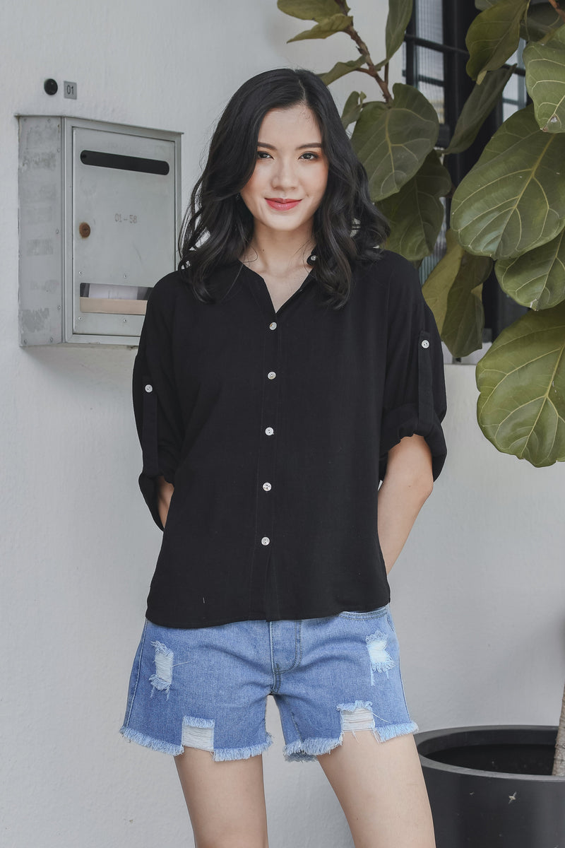 Henrietta Linen Shirt in Black