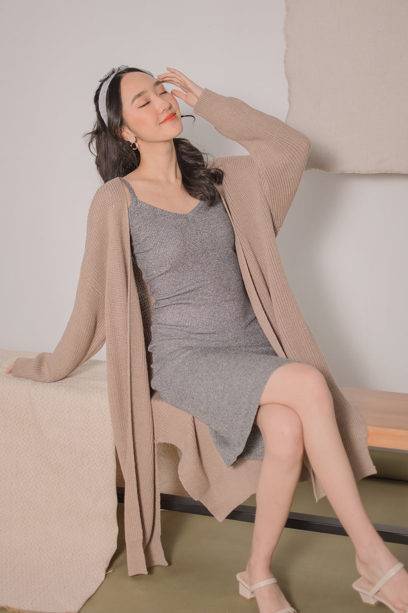 Megan Longline Knit Cardigan in Brown