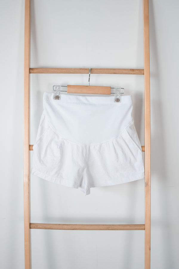 Bryna Linen Maternity Shorts in White