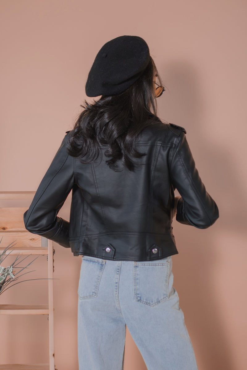 Laurent Leather Biker Jacket in Black