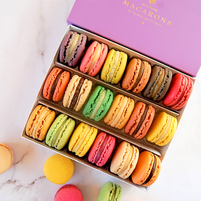 Hilton Macarons - Box of 18 Classic Macarons. Buy online for delivery anywhere in UK