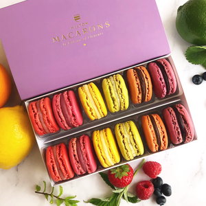 Hilton Macarons - Box of 12 Summer Fruit Macarons. Buy online for delivery anywhere in UK