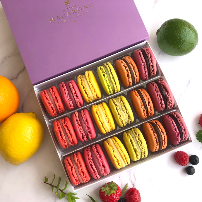 Hilton Macarons - Box of 18 Summer Fruit Classic Macarons. Buy online for delivery anywhere in UK