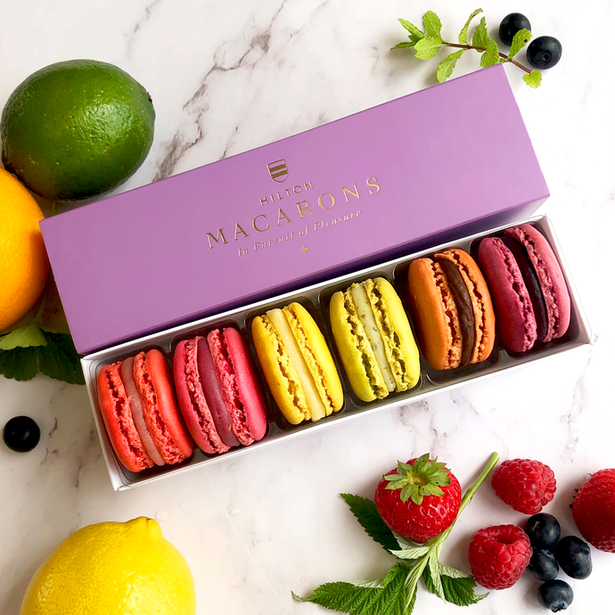 Hilton Macarons - Box of 6 Summer Fruit Macarons. Buy online for delivery anywhere in UK